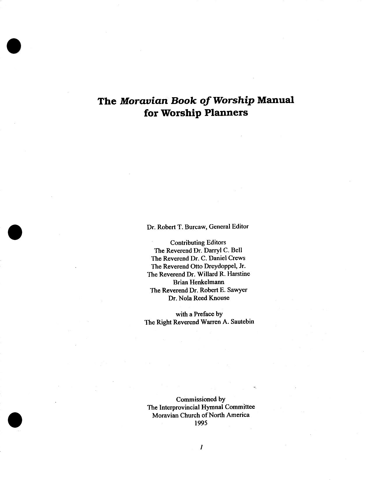 Moravian Book of Worship Manual