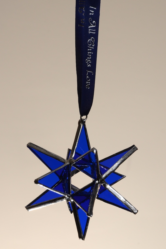Stained Glass Moravian Star - Blue 3""