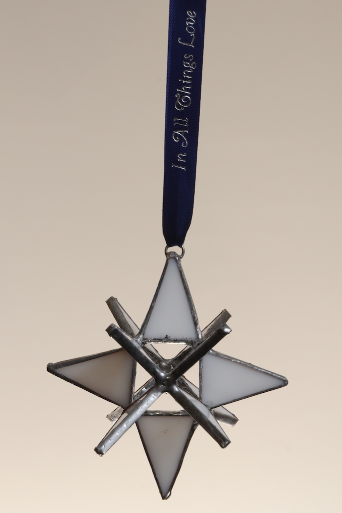 Stained Glass Moravian Star - White 3""