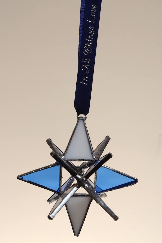 """Stained Glass Moravian Star - Blue and White 3"""""""