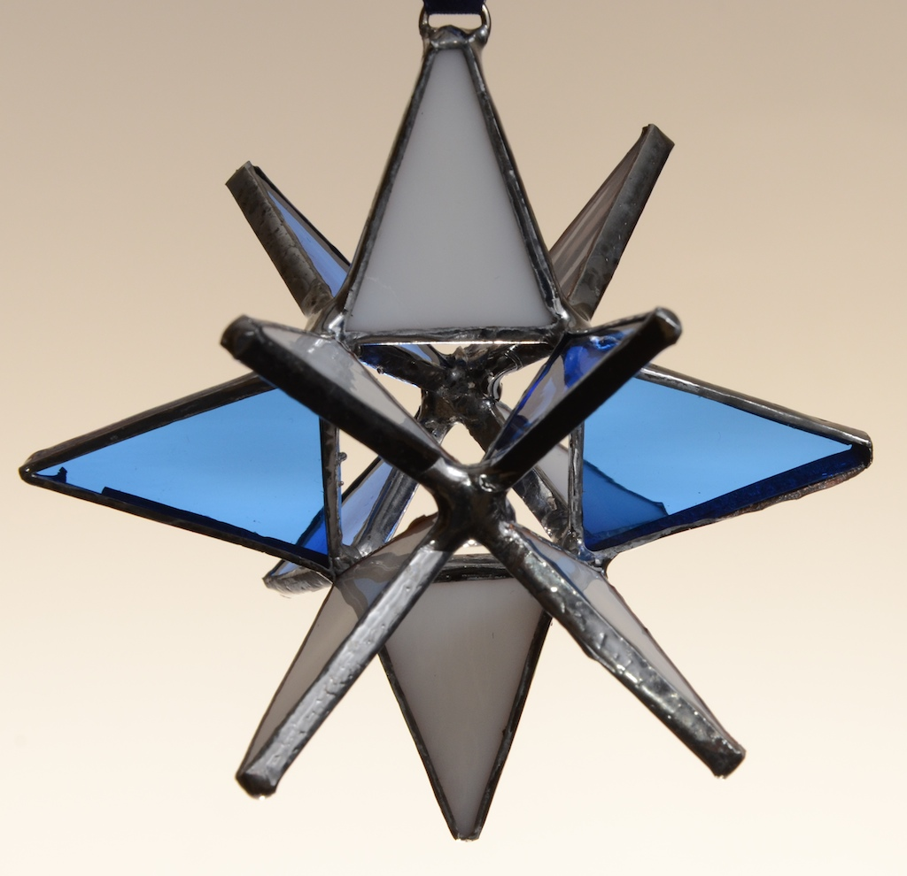Stained Glass Moravian Star – Blue and White 3″