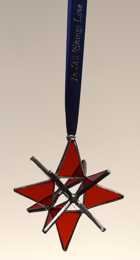 """Stained Glass Moravian Star - Red 3"""""""