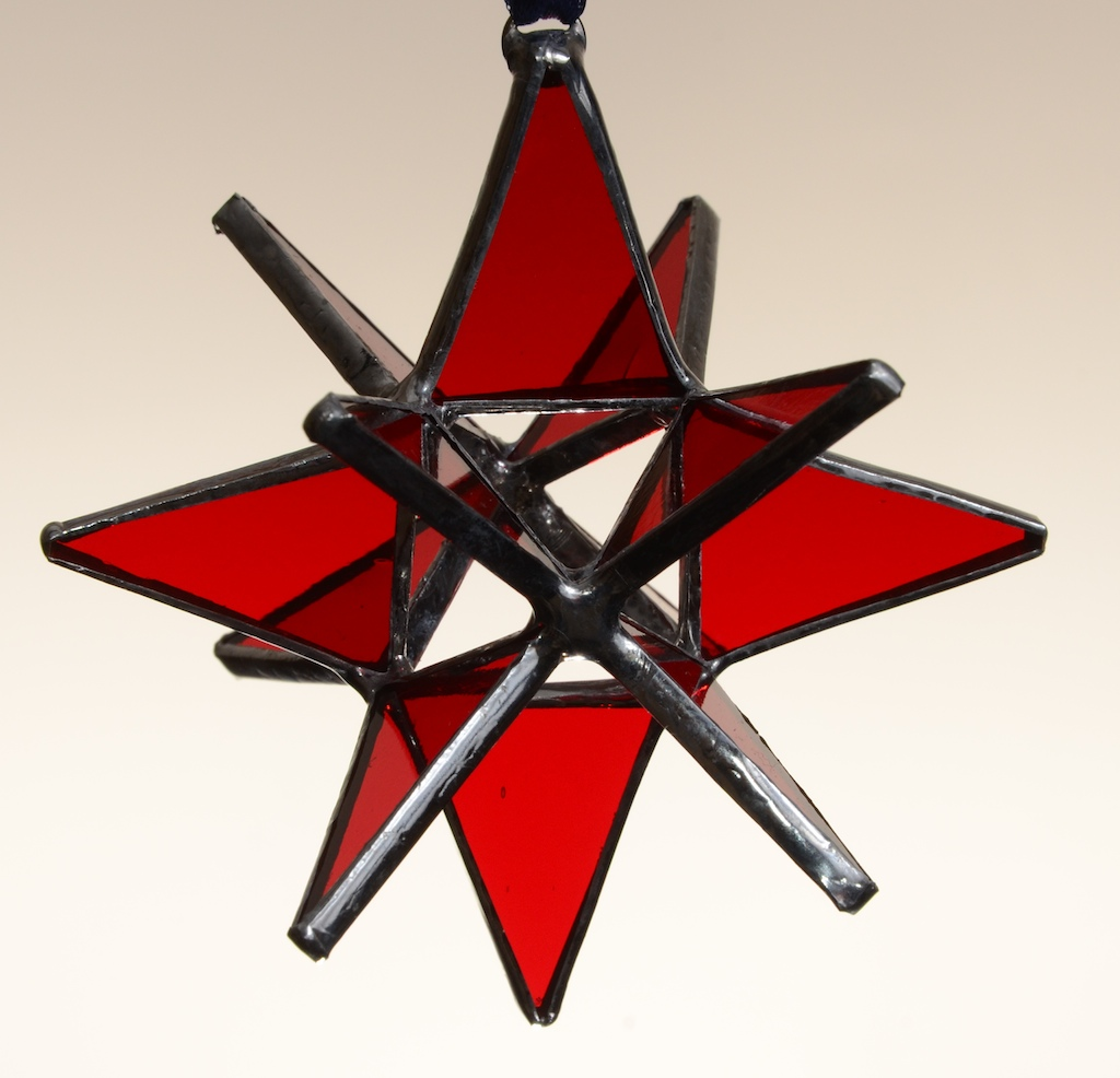 Stained Glass Moravian Star – Red 3″