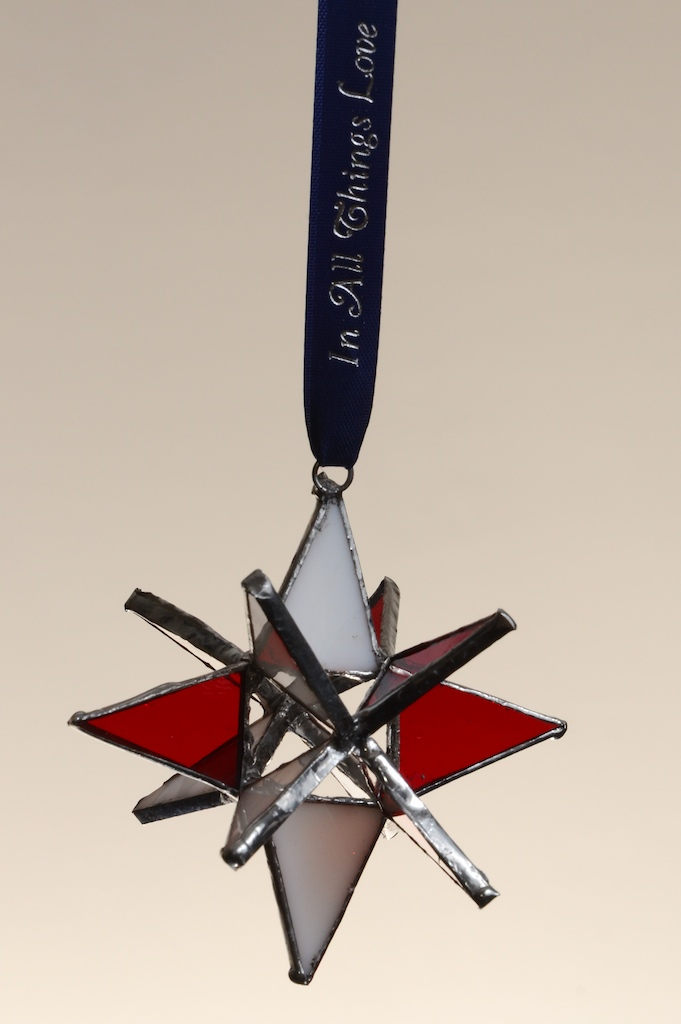 Stained Glass Moravian Star - Red and White 3""
