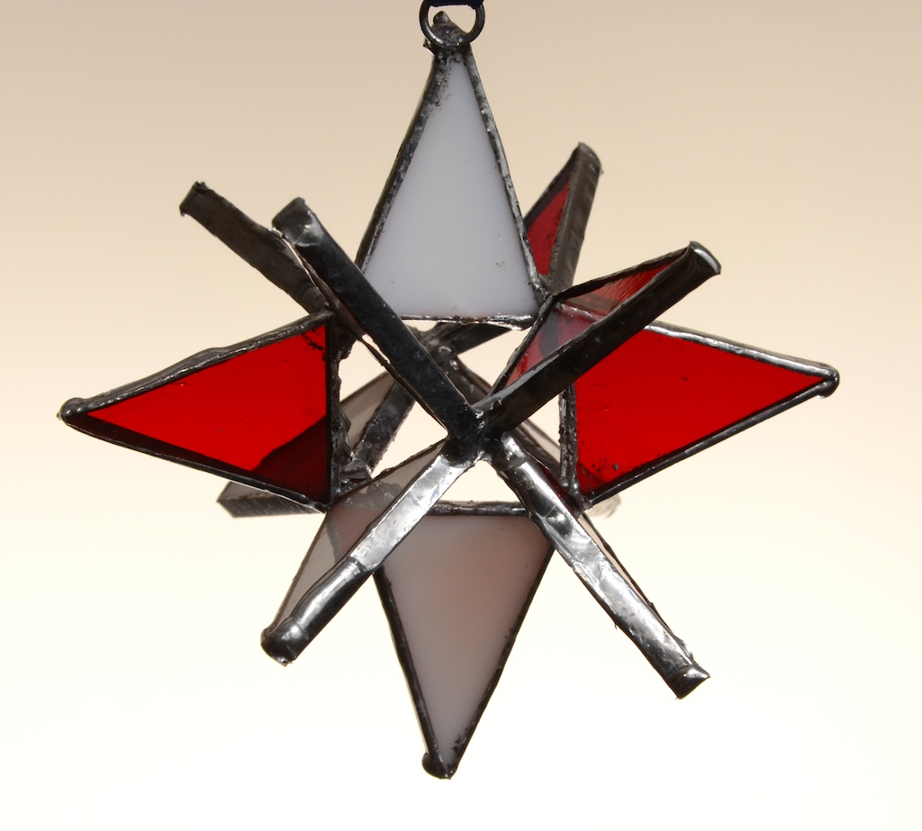 Stained Glass Moravian Star – Red and White 3″