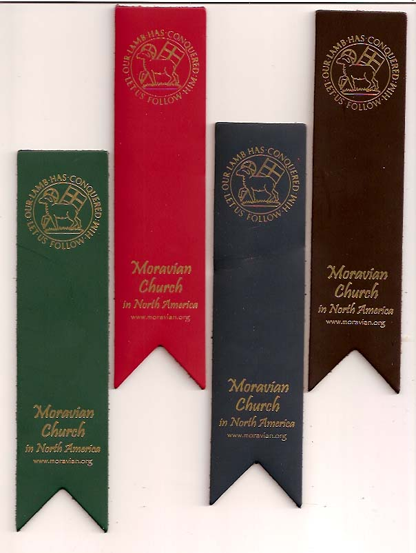 Leather Moravian Seal Bookmark - Green