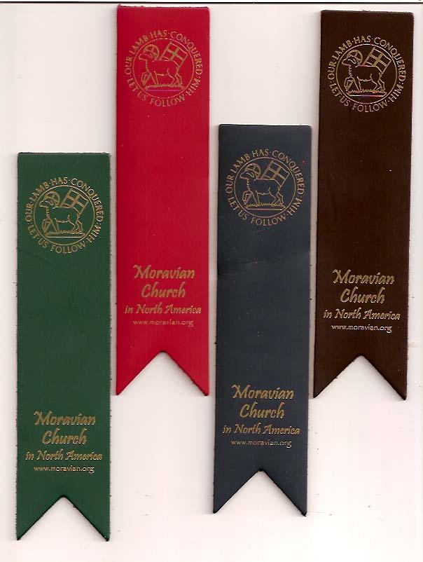 Leather Moravian Seal Bookmark - Burgundy