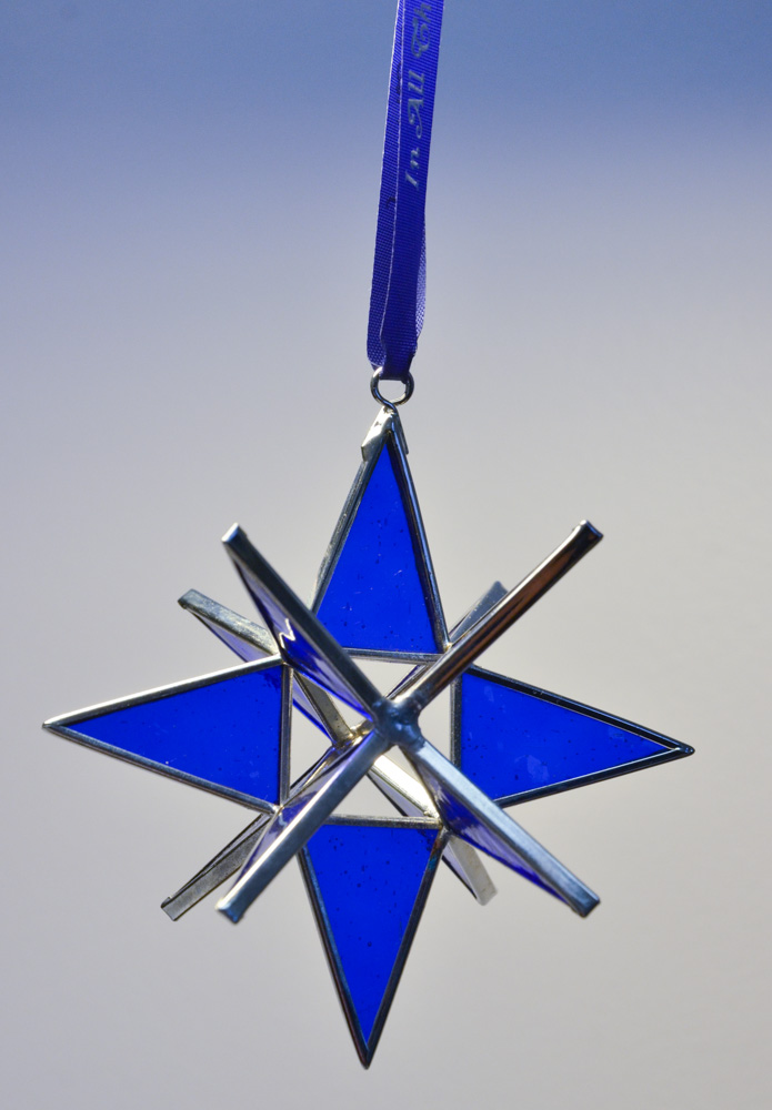 Stained Glass Moravian Star - Blue 4""