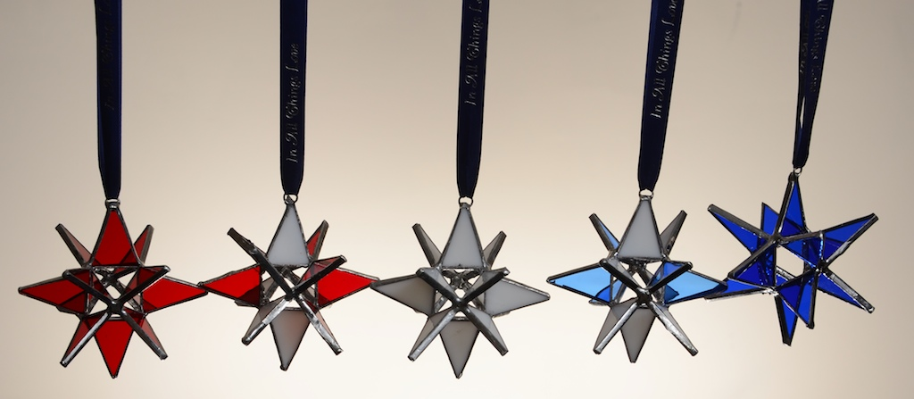 Stained Glass Moravian Star – Blue and White 4″