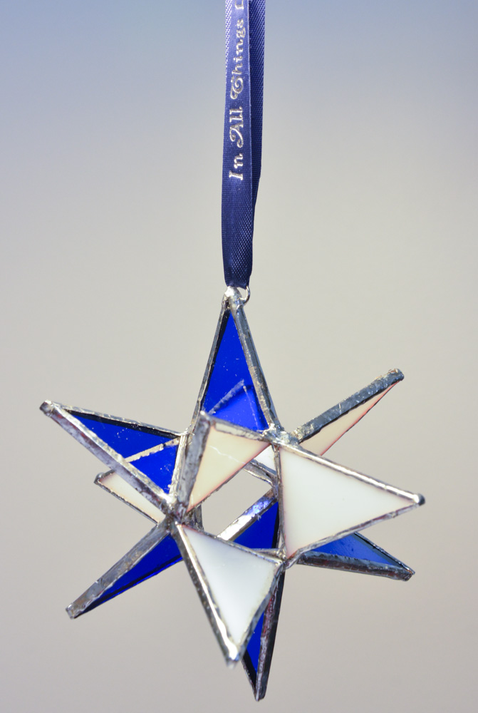 Stained Glass Moravian Star - Blue and White 4""
