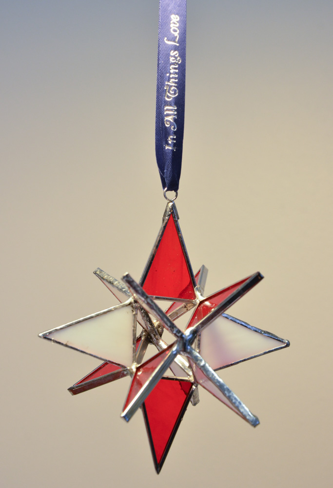 """Stained Glass Moravian Star - Red and White 4"""""""
