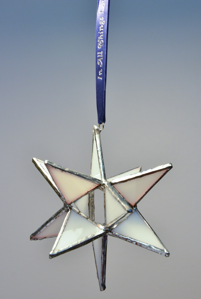 Stained Glass Moravian Star - White 4""
