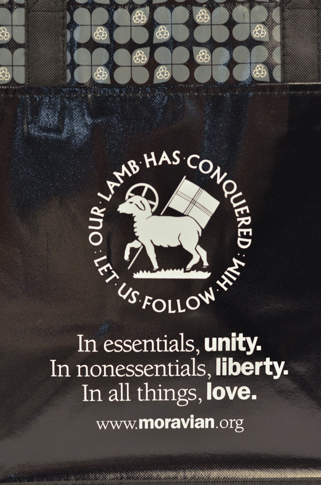 Moravian Tote Bag with Seal & Motto